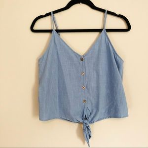 One Clothing Tie Front Button Down Tank